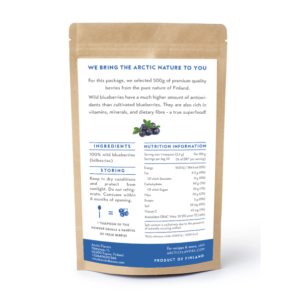 Arctic Flavors premium quality wild blueberry (bilberry) powder from the pure forests of Finland.