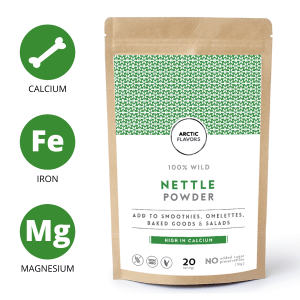 A teaspoon of this Arctic Flavors wild nettle powder equals a handful of fresh nettle leaves. This wild nettle powder is made of 100% nettle and has no added preservatives, colorants, or sugars. Arctic Flavors nettle powder is suitable for vegan, gluten-free, non-GMO, paleo, and raw diets.