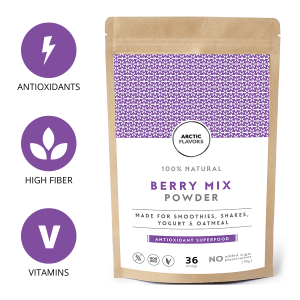 A teaspoon of this smoothie mix powder equals a handful of fresh wild berries. This smoothie mix powder is made of 100% whole berries and has no added preservatives or sugars. It is suitable for vegan, gluten-free, non-GMO, paleo, and raw diets.