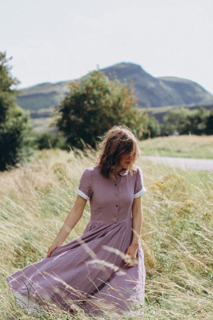 Sondeflor Classic Dress in Lavender, with Arthur's Seat in the background