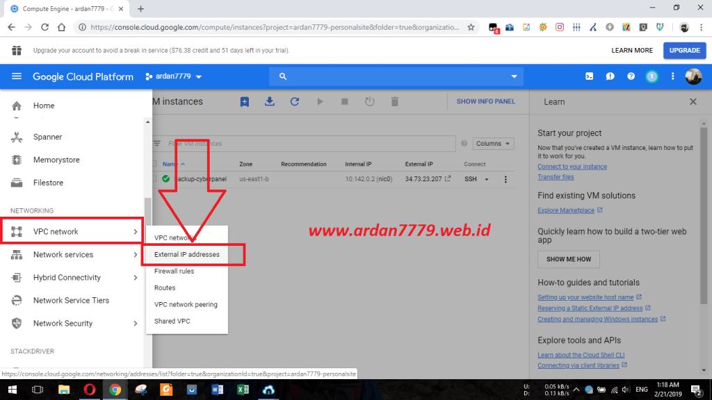 Menambahkan IP Statis di VM GCP