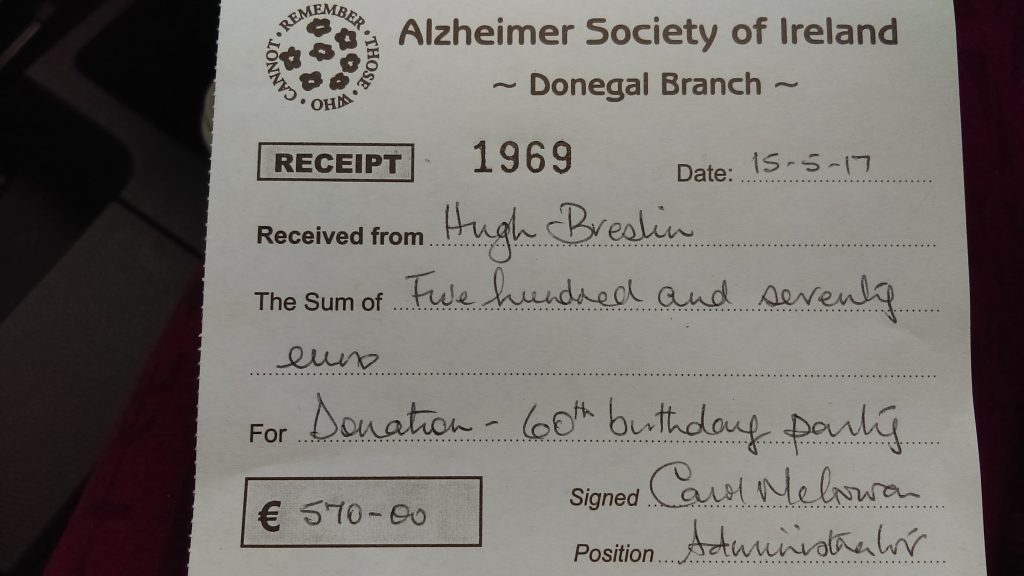 Thanks to all who donated at big Hugh's party