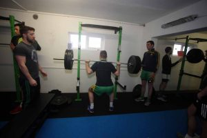 Senior players using one of the many weight machines at the new strength and conditioning suite at CLG Ard an Ratha. PHOTOS: Ciara, JMAC.