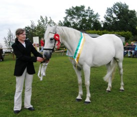 Lucky Hazel All-Ireland Broodmare Champion with Sinead McGrath