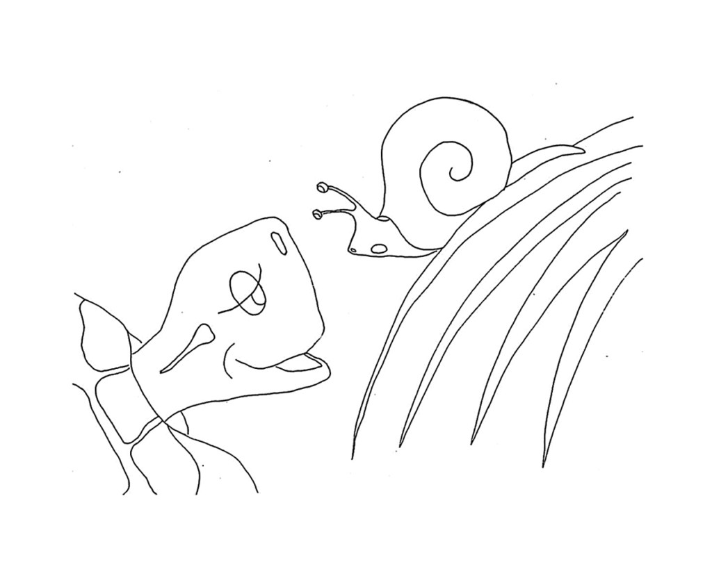 Sammy Snail's blade of grass bends down to meet Terrance's face. It's not often he gets to look down on anyone so big.