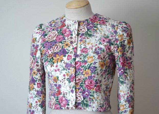 vintage lightweight quilted floral cropped jacket