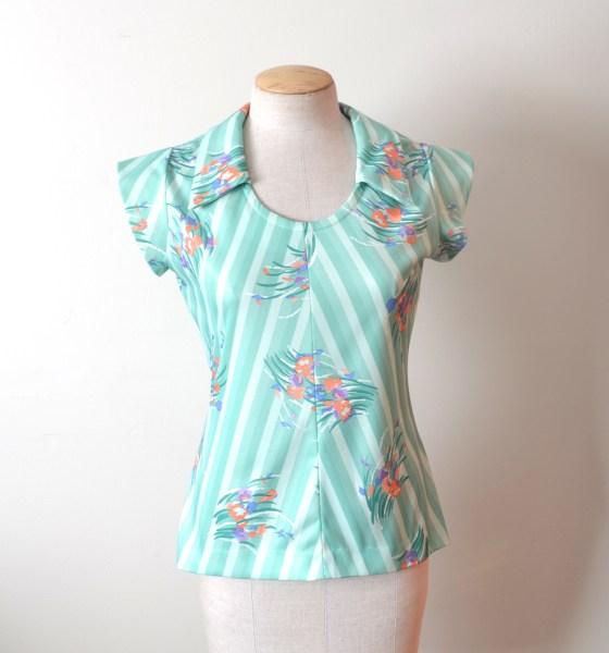 vintage pastel green & floral print top