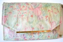 vintage genuine leather handbag in pastel watercolor floral print
