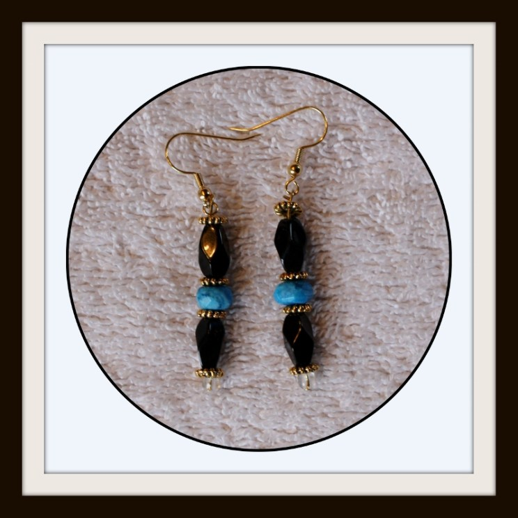 Earrings, Jewelry, Drop Earrings, Beaded Earrings, Agate Earrings, Aqua Earrings, black , blue and gold earrings, dangle, Item # ERBBB0115