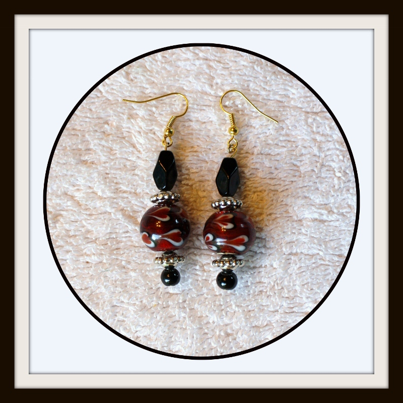 Beaded earrings, long earrings, dangle earrings, gift for her, statement earrings, red earrings,black earrings,red and black, Item #ERBRB116