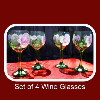 Set of four,hand painted glasses,painted wine glasses,bohemian green glass,drinking glasses,floral drinkware,beverage glasses, Item #GWG-4 floral pattern, table decor, anniversary gift, wedding gift, stemware gift, unique gift,