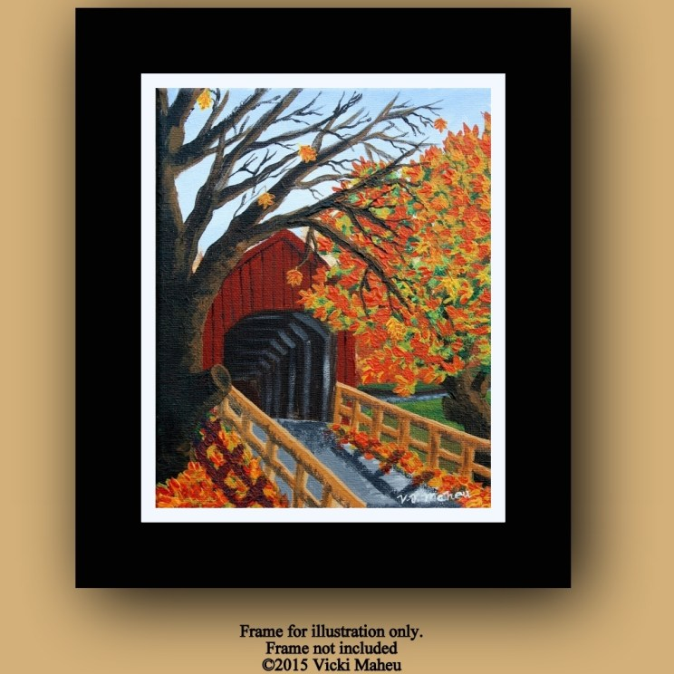 Autumn Tree, Fall Tree, Autumn Home Decor, Covered Bridge Art, Acrylic Painting, Covered Bridge, Autumn Wall decor, OOAK, Item # FCB-O-1