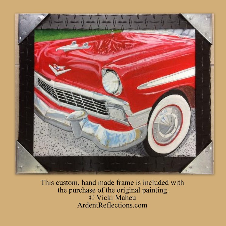 1956 Chevy, framed original, handmade frame, red, gift for men, Car paintings, acrylic on canvas, classic cars, 56 chevy bel air, Item #CKO1 man cave art, classic car art, father's day, man's birthday