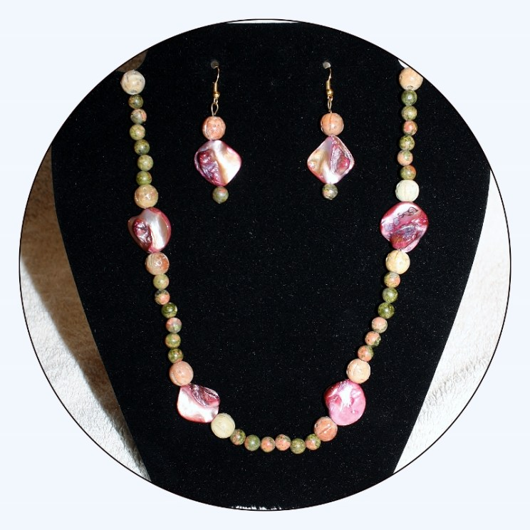 Jewelry set,Shell and gemstone,Pink Shell Necklace,Pink Shell Beads,abalone earrings,jasper,soapstone,shell,shell bead necklace,Item #JSSP01 semiprecious stone, natural shell, carved soapstone, abalone jewelry set, pink shell jewelry