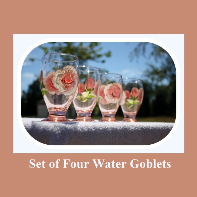 Set 4 Water Goblets, 9oz glass, hand painted glass, Juice glasses, Peach tinted glass, hand painted roses, hand painted flowers, Item #PWG4 spring or summer cup, spring time glass, summer drink glass, wedding gift, housewarming, kitchen glass