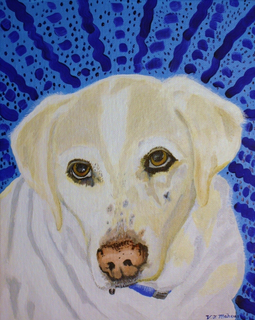 Spunky, the lab mix, hand painted pet portrait.
