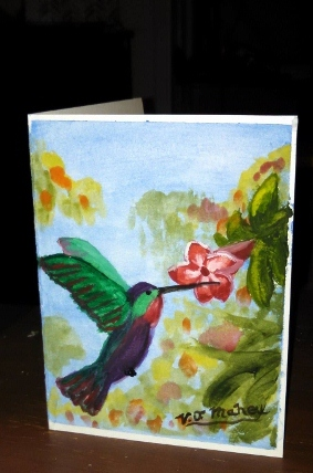 Watercolor Greeting card, hummingbird