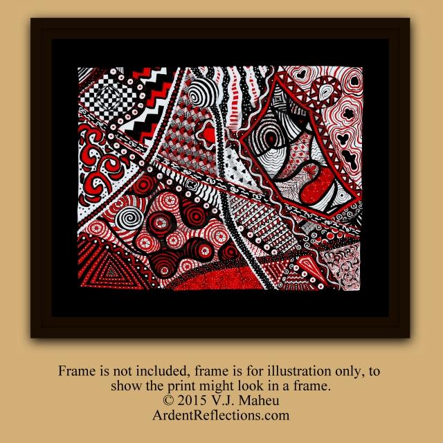 Modern art print, zentangle wall art, yoga art, yoga studio art, op art, optical illusion, modern wall art, zentangle inpired, Item #ItIP1 red black white, red and black, geometric prints, geometric wall art, wall art prints