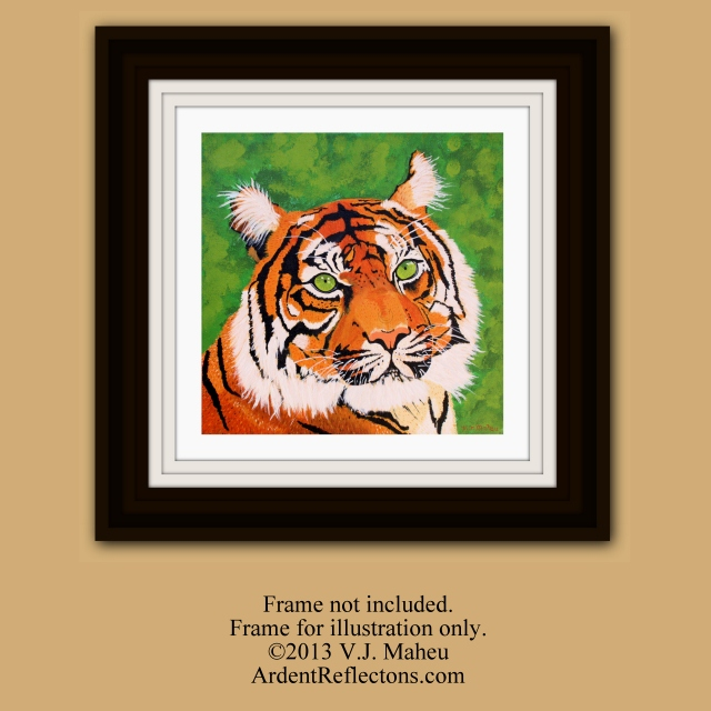 Tiger wall art, Tiger Painting print, Home office decor, Ready to frame, Bengal tiger print, archival print, standard print, Item #GETP1 home decor, office decor, father's day gift, wildlife art, tiger eyes