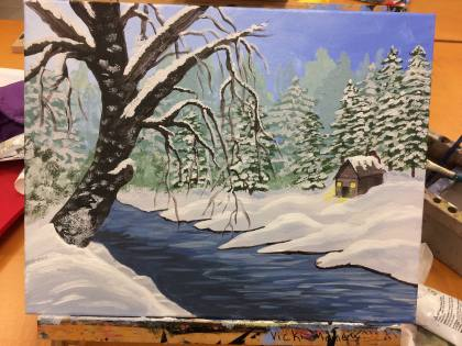 I added more detail on the far bank of the river, painting in some exposed mud at the point where the water and snow meet, and I added in more background brush on the left side of the canvas. Built up the snow near snowbank, and added in the foreground tree with snow sticking all over its bark. Then I added the shadowy reflection of the tree on the surface of the water, and added in some more highlights opposite the shadow.