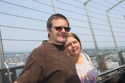 My wonderful blessing of a husband and myself atop the Space Needle.