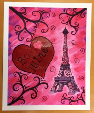 I took one of my archival prints of Eiffel Tower in Pink, and painted on a heart and greeting to make it into a Valentine's card.
