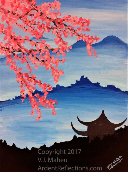 The painting I'll demonstrate for my next painting class. Buddhist temple, misty mountains, cherry blossoms, sakura