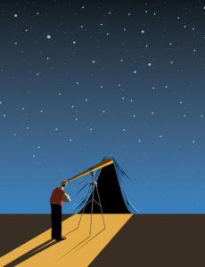 Craig Frazier Telescope Sky Illustration