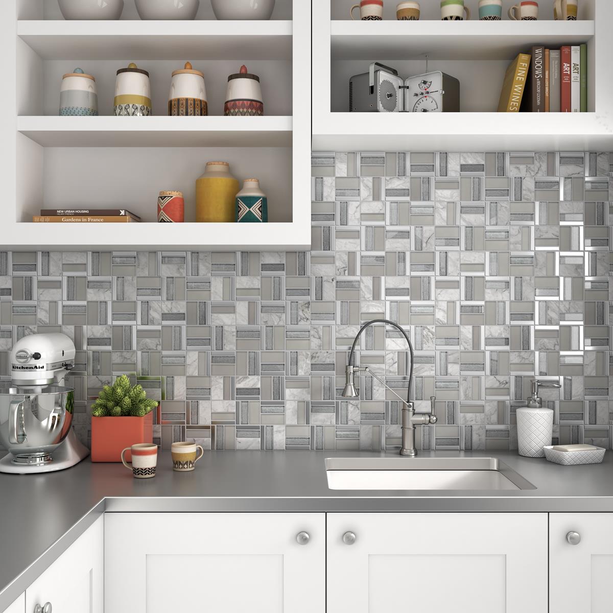 render-3d-de-mosaico-de-ceramica-plata-para-cocina