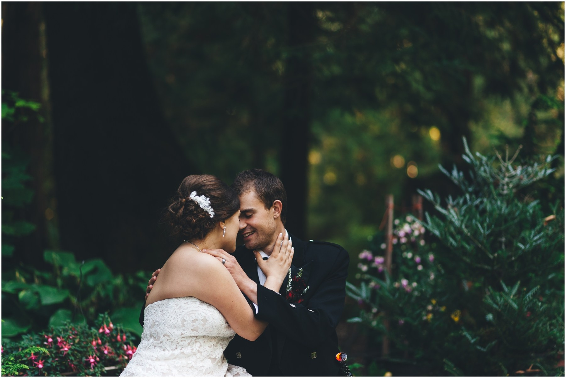 Bride and groom photo at a Scottish American Wedding @ Glen Echo Gardens in Bellingham, WA captured by Ardita Kola Photography