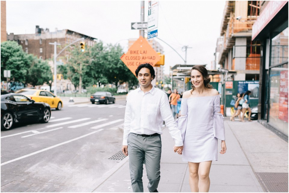 NYC Engagement Session at Fort Tryon Park and Katz Deli