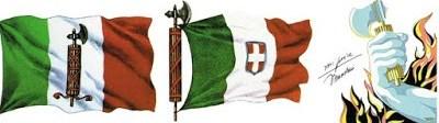 Ini adalah lambang bendera Partai Fasis Mussolini. Sebuah batang terikat dengan kapak diujungnya adalah bentuk umum dari lambang fasis. Kapak dan seikat batang melambangkan fasisme di ilustrasi diatas disertai tanda tangan Mussolini.