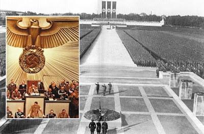 Simbol paganisme nyata yang ditampilkan pada saat upaca Nazi