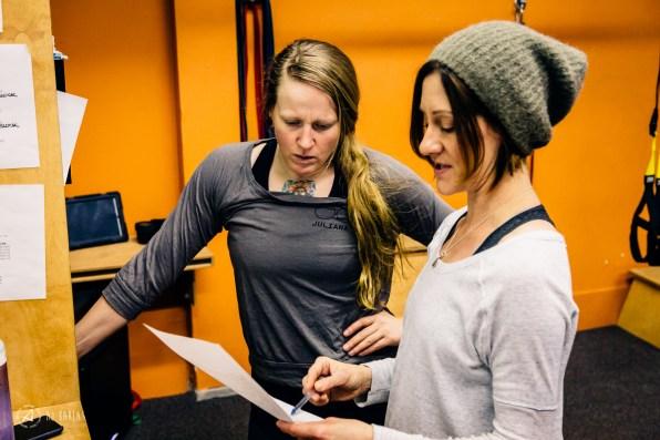 Monika Marx going over Sarah's program with her