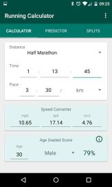 Running calculator android app