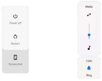 android p power menu and volume buttons
