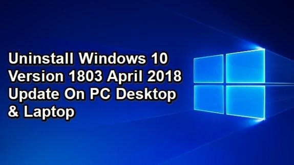 uninstall windows 10 version 1803