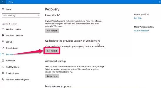 windows 10 recovery setting