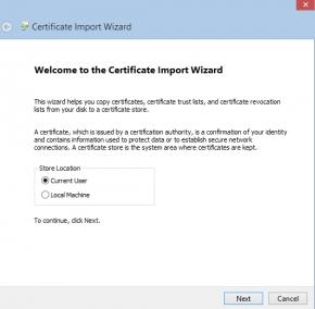 bluestacks certificate import wizard