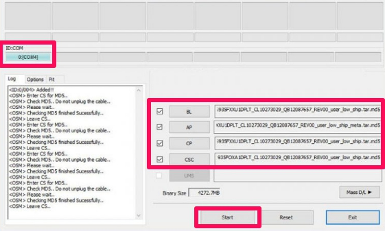 odin file flashing