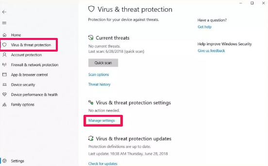windows security virus and protection settings