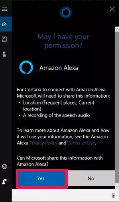 allow microsoft to share info with amazon