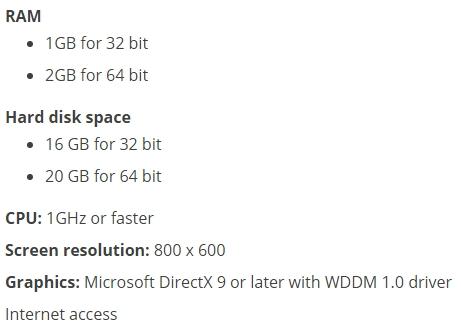 windows 10 installation requirements