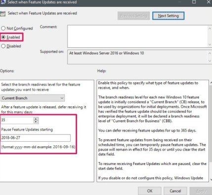defer windows 10 automatic update group policy editor