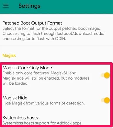 magisk settings in magisk manager