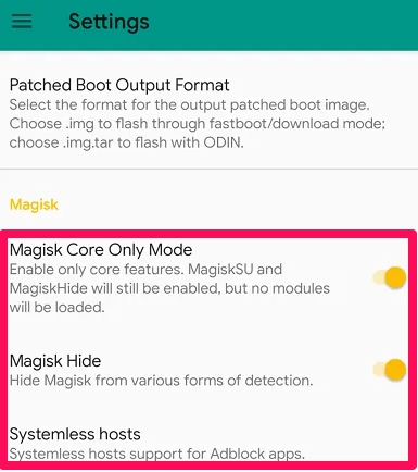 magisk settings in magisk manager