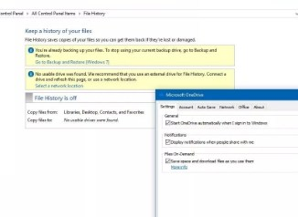 onedrive backup on windows 10 file history