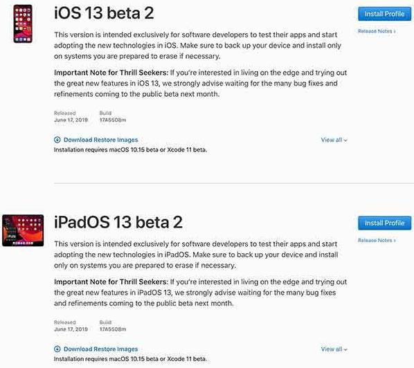 ios 13 beta 2 and ipados 13 beta 2