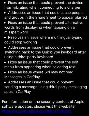 ios 13.1 release note screenshot