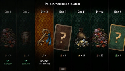gwent daily login rewards v4.0 or later